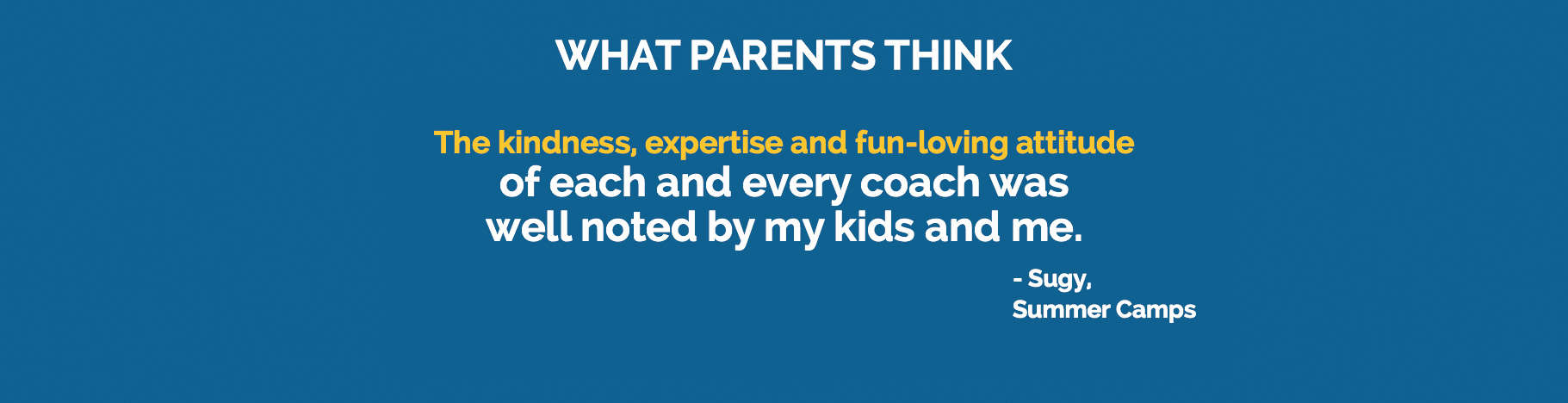 Testimonial: The kindness, expertise and fun-loving attitude of each and every coach was well noted by my kids and me.